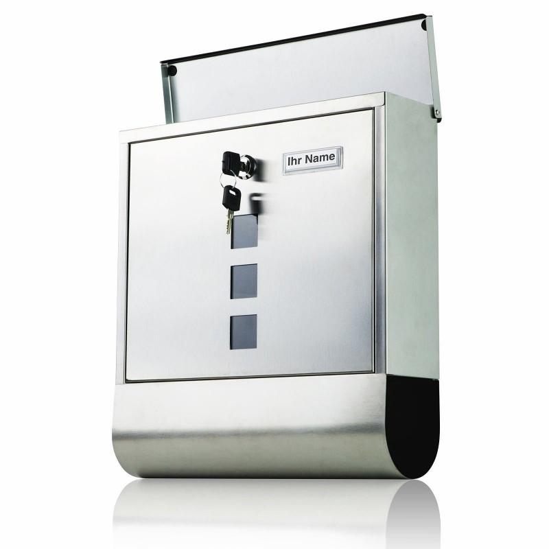 briefkasten xl edelstahl wandbriefkasten mailboxen. Black Bedroom Furniture Sets. Home Design Ideas
